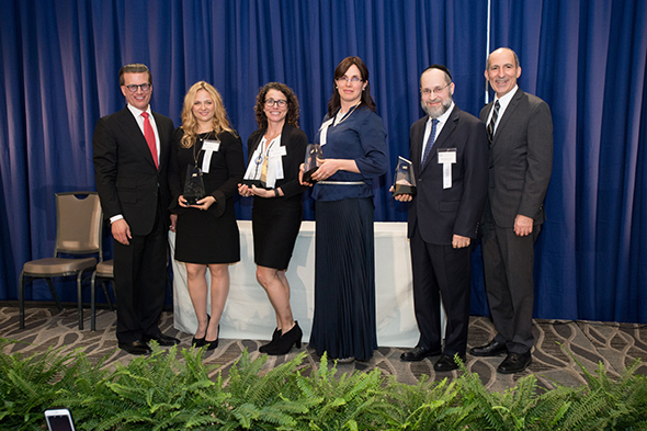 27th Awards Luncheon Lowell Milken, chairman and co-founder of the Milken Family Foundation, congratulates the 2016 Jewish Educator Award recipients. From left, Lowell Milken; recipient Ilana Ribak; recipient Tammy Shpall; recipient Fruma Ita Schapiro; recipient Rabbi Chaim Trainer; and Dr. Gil Graff, executive director of BJE (Builders of Jewish Education).