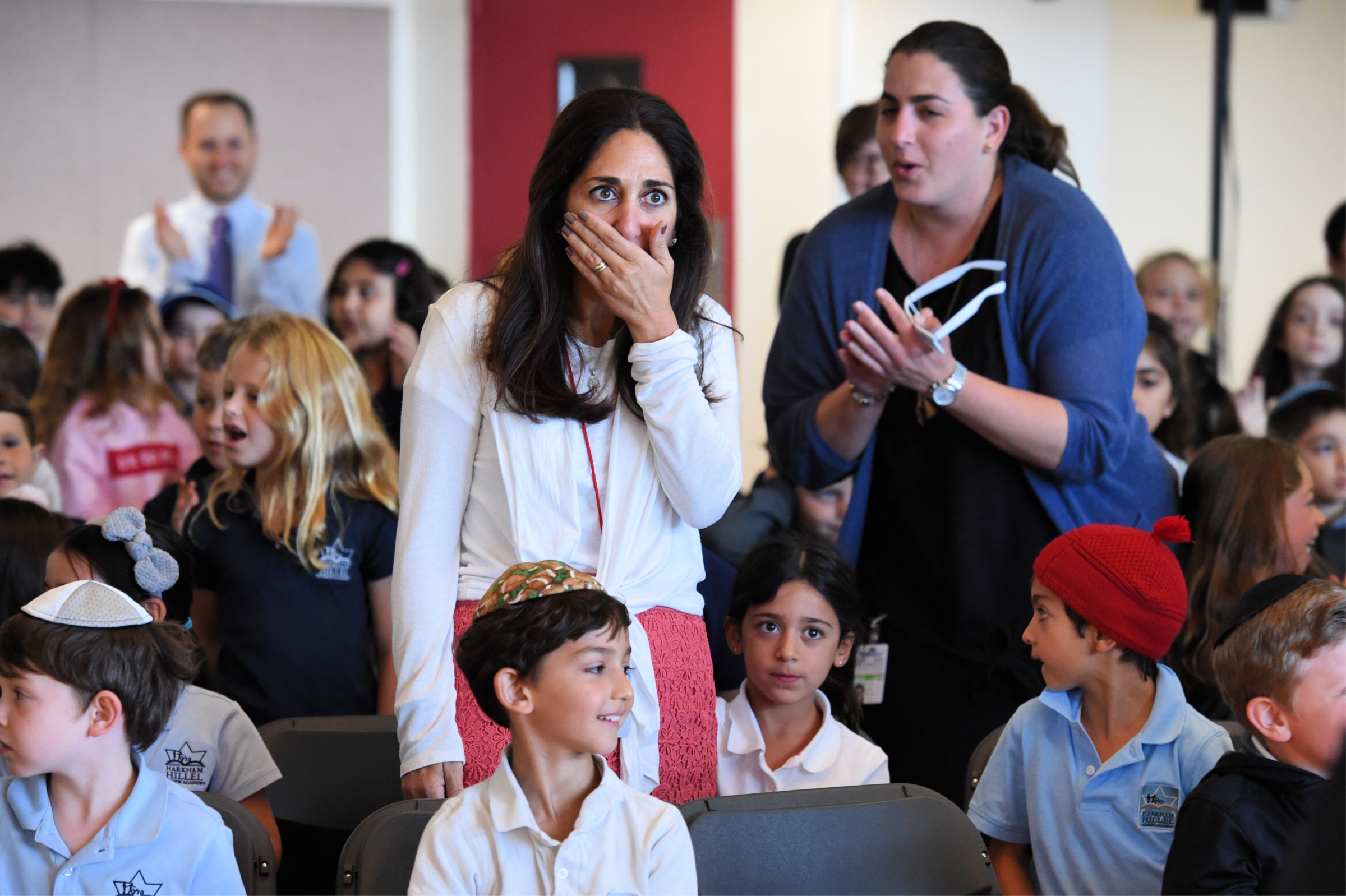 Florette Benhamou Notification Surprise! First-grade teacher Florette Benhamou is shocked to learn that she is the recipient of a 2018 Jewish Educator Award.